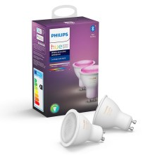 Комплект 2x LED Димируема крушка Philips WHITE AND COLOR AMBIANCE GU10/5,7W/230V 2000-6500K