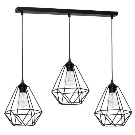Висящи лампи BASKET 3xE27/60W/230V черна